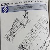 Jedna ze stron książki - zapiski dyrygenta na firmowym papierze BBC SSO